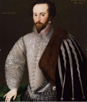 Sir Walter Raleigh, dripping with pearls (1588, now in the National Portrait Gallery, London)