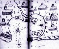 Map of Wampanoag village at Plymouth Bay in 1613 AD,just before the Puritans arrived. See the growing crops around each house?