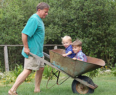 A man pushing some kids in a wheelbarrow
