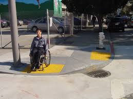 A wheelchair ramp in a city