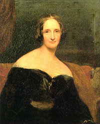 Mary Wollstonecraft -a painting of a white woman with graying hair in a black dress off the shoulders