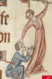 Woman beating a man