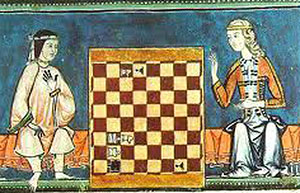 painting of two white women playing chess - medieval games