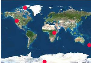 A world map of places to track the weather