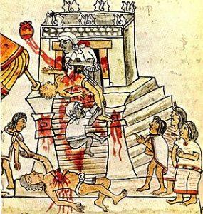 An Aztec human sacrifice