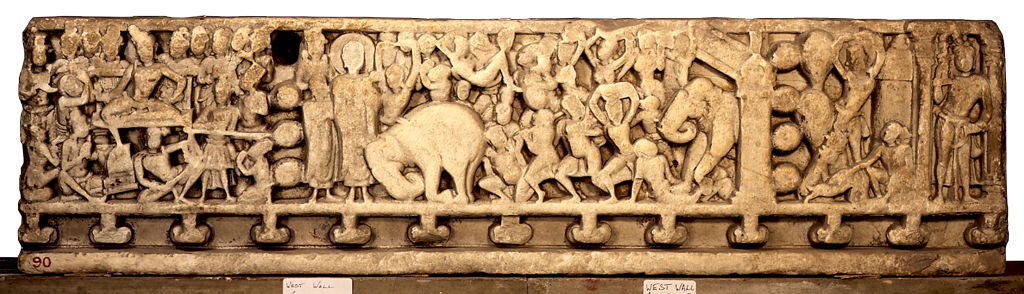 Relief from Amaravati. Museum caption: Drum-frieze from Amaravati, 3rd century. Palnad marble, 37.5 x 134.75 x 7 cm. London, British Museum, 1880,0709.90.
