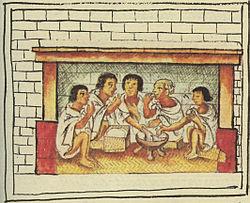 Aztec men sharing a meal
