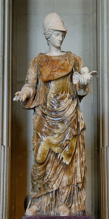 A Roman Minerva in onyx, from the 100s AD. Now in the Louvre.