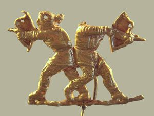 Two hunters with bows (Kerch,on the Black Sea, ca. 400 BC)