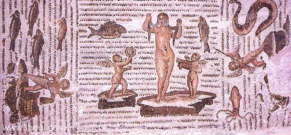 Birth of Venus - a mosaic from Tunisia, now in the Bardo Museum in Tunis.