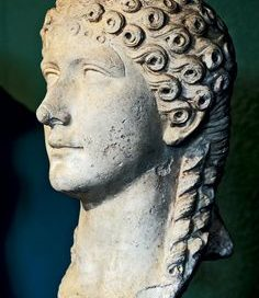 Agrippina the Younger: marble bust of a white woman with long curls