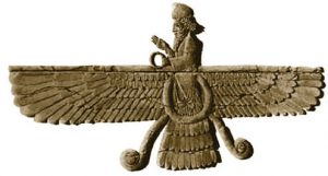 Ahura Mazda with wide eagle wings