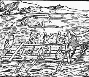 Arawak fishing and boating - using nets to catch fish (ca. 1500 AD)