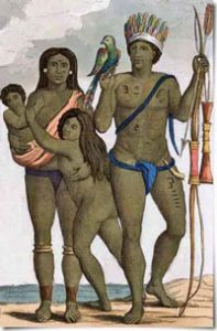 A drawing of a woman holding a baby, a man holding a bow and arrow, a young girl, and a parrot: Arawak history