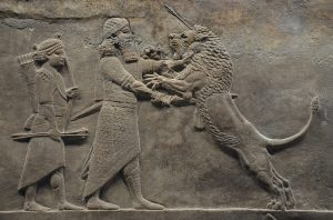 Ashurbanipal, the king of Assyria, in a formal lion hunt to show his power