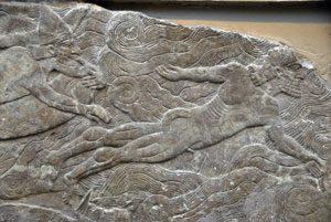 Assyrian men swimming (Nimrud palace, ca. 860 BC,now in British Museum, photo credit Brian McMorrow)