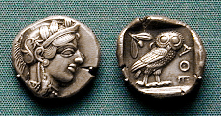 Athenian silver coin showing Athena and her owl