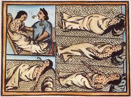 Aztec doctor treating people with smallpox (1500s AD, Codex Mendoza)