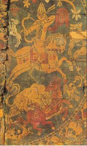 Bahram V Gor (Sassanian king 400s AD);the cloth is Sassanian silk from the 700s AD