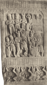 King Ajatasattu arrives with his elephants and attendants and wonders why everything is silent. When he sees everybody is meditating, he prays to the Buddha himself. (Bharhut Stupa in central India, about 150 BC)