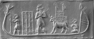 Cylinder seal of a boat carrying wicker-and-wood crates, a cow, and an enslaved woman - Uruk, ca. 2700 BC