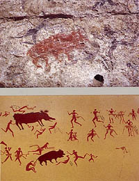 Hunters in a painting from a shrine in Catal Huyuk, about 7000 BC