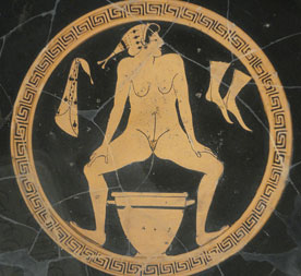 Woman using chamber pot (Athens, Greece, ca. 480 BC. Now in Berlin)