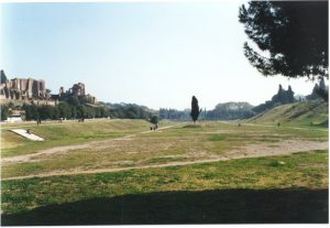 This is what the Circus Maximus looks like today.Can you see where the people sat, on the sides?