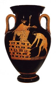 a red-figure vase showing a man sitting on a chair on a big pile of stacked wood, while another man stands before him setting the wood on fire