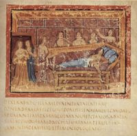 The death of Dido, Queen of Carthage, from an illustrated copy of Virgil's Aeneid, about 400 AD
