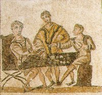 Men gambling in a mosaic from North Africa