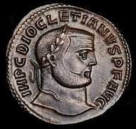 Diocletian - a coin with a white man with a crew cut and a very short beard