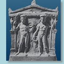 Castor and Pollux - the Dioscuri - on a votive plaque from Tarentum in southern Italy