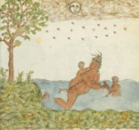 Arawak or Carib woman swimming with her kids ca. 1580 AD