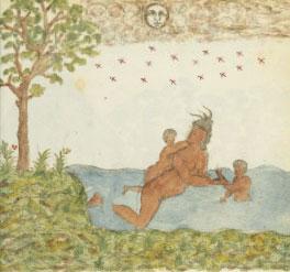 Arawak or Carib woman swimming with her kids ca. 1580 AD