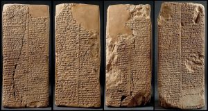 Clay tablets with cuneiform writing of the Enuma Elish