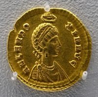 A gold coin of the Roman empress Eudoxia, Arcadius' wife and the ruler of the Roman Empire