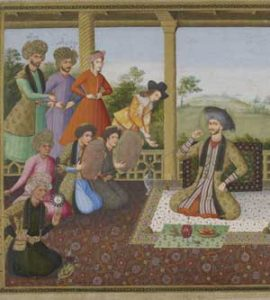 European trader at the Iranian court, 1700s AD (Notice how there are no women...)