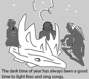 Cartoon: the dark time of year has always been a good time to light fires and sing songs. Dark-skinned people sitting around a large fire. History of Halloween