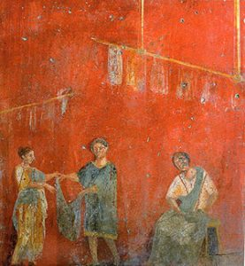 Women hanging up clothes to dry (Pompeii, before 79 AD)