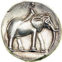 One of Hannibal's coins showing a man riding an elephant