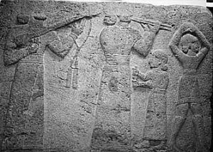 Hittite musicians in long and short tunics (1500 BC, modern Turkey)