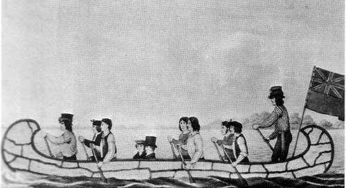 Settlers using a canoe, from Manitoba, 1824 AD