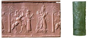 The goddess Ishtar on a cylinder seal of green garnet (British Museum)