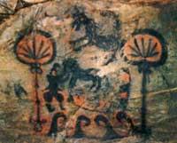 Fukuoka Tomb painting, probablyof feather fans (Japan, 500s AD)