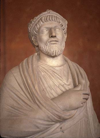 Julian the Apostate: a white man with a beard and a traditional toga