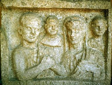 A Roman family on a tombstone