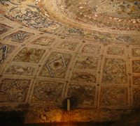 The decorated ceiling of the cave where people may have celebrated the Lupercalia, under the Palatine Hill in Rome.