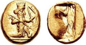 Lydian gold coin with a king on one side