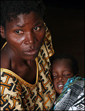 A baby with malaria (from World Health Organization)